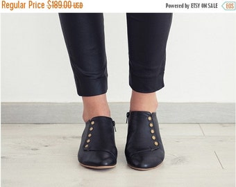 VALENTINES SALE Grace Black handmade flat shoes   / leather shoes  by Tamar Shalem