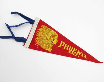 "Vintage Phoenix Ariz. Pennant - Wool Felt Pennant - Souvenir Pennant - Red With Gold - Indian Chief Profile - 12"" Long Pennant"