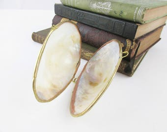 Abalone Shell Trinket Box - Two Shells With Gold-tone Metal Edge, Clasp and Hinge - Mother of Pearl Surface - Unique Gift Box