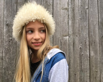 White vintage real sheep Fur Hat Autumn Fall Winter hat Fur children hat Fur kids hat