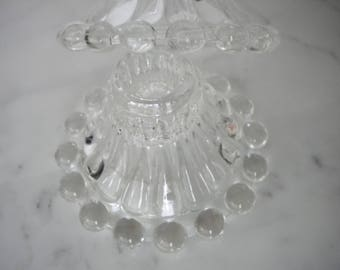 Vintage { Anchor Hocking Boopie Berwick Glass Candle Stick Holders } Pair Clear Glass