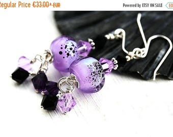 50%off SALE Lilac Earrings, Lampwork glass Earrings, Lavender Dangle Earrings, Sterling silver, Black Earrings, Beadwork Earrings