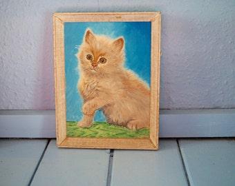 Vintage original kitsch cat painting