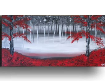 Red Black and White Canvas Painting Wall Decor Acrylics Canvas Art Tree Painting Black and White Art Landscape Painting Red Art by Sami