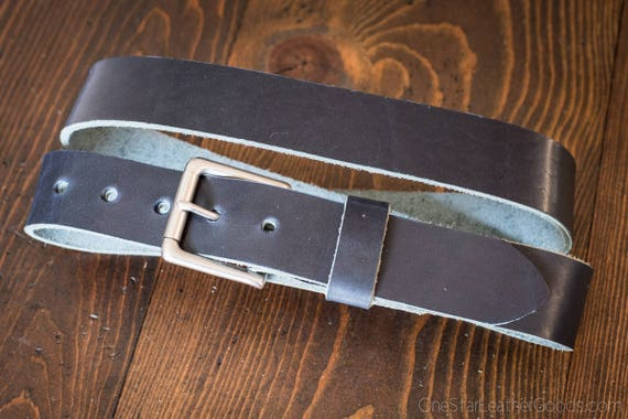 "Custom sized belt - 1.5"" width - Horween Dublin leather - heel bar buckle, cobalt blue"