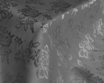 Charcoal Floral Jacquard Brocade Satin Fabric By the Yard Style 3006