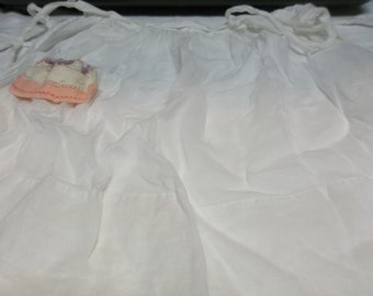 Vintage Apron, Sheer White Handmade with Felt Birthday Cake and Candles, S217