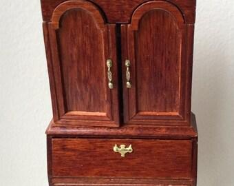 "Dollhouse Miniature 1"" Scale Secretary Cabinet (JSJ)"