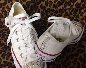Rhinestone Converse, White Chuck Taylor Converse, Swarovski Rhinestoned Shoes