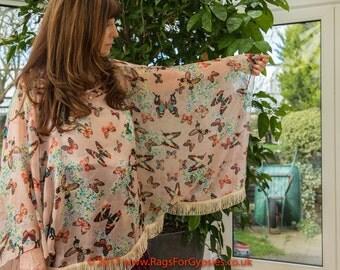 Gypsy Butterfly Kimono Top Pink Peach Stevie Nicks Style Bohemian Boho Festival Alternative Gipsy Bohemian