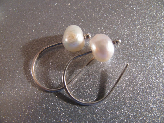 Sterling Silver and Fresh Water Pearls Handmade/Hand Forged Dangle Earrings Sterling Silver Earrings Toniraecreations