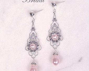 "Bridal earrings, wedding jewelry, Blush pink pearl and clear rhinestone earrings, Swarovski, silver, ""Princess"" earrings"