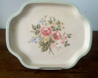 Vintage Avon Tray Shabby Chic Cottage Style Pink Roses England