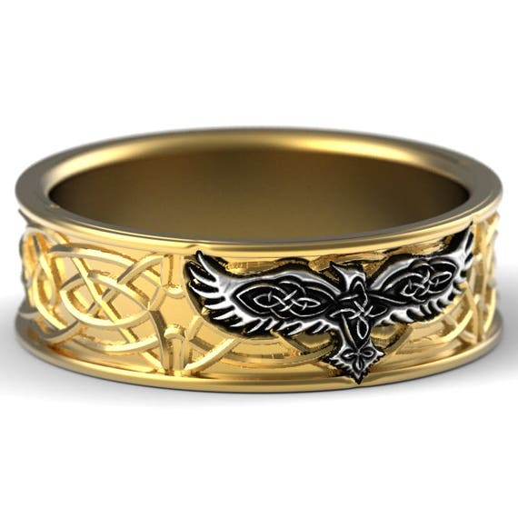 Celtic Raven Ring, Raven Wedding Band, Mens Wedding Band, Raven Jewelry, 10K 14K 18K Gold, Palladium or Platinum, Custom Size 1161
