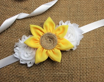 Sunflower Sash, Pick Your Color,Flower Girl Wedding Sash belt,Rustic Wedding Flower Sash,Wedding Accessories
