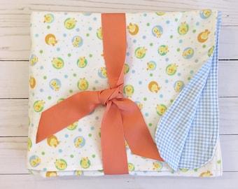Flannel blanket - Double layer flannel blanket - receiving blanket - baby blanket - ducks - baby gift - flannel - blue gingham