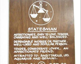 Vintage Spirit of Libra 1970's Wood Panel Sign Zodiac Horoscope Statesman