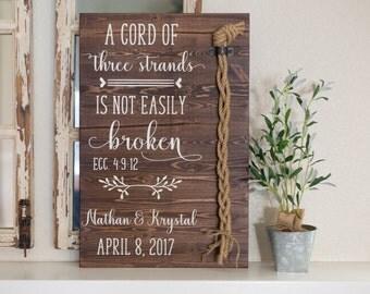 A cord of three strands is not easily broken. Ecc 4:9-12, Design 2, Wedding Unity Ceremony Alternative