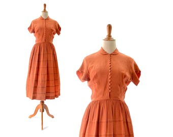 1940s Dress 40s Dress Orange Dress 40s Vintage dress 1940s Vintage Clothing 1940s Vintage Dress 40s Vintage Clothing Rayon Dress Small