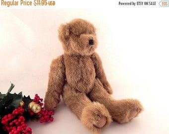 "Teddy Bear Toy Brown Stuffed Plush Animal 12"" Jointed  Vintage Home Decor Craft Supply"