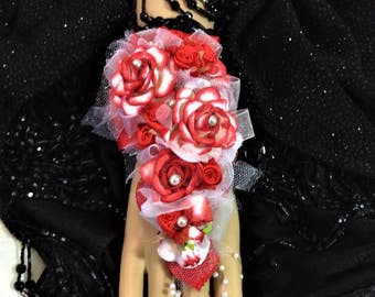 Corsage-Wrist Flower Corsage-Red and White-Wedding Corsage-Bridal Corsage-Bridesmaid's Flowers-Mother of Bride Corsage-Prom Flower Corsage