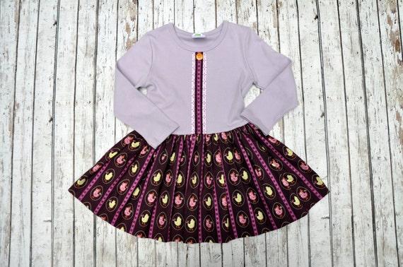 Lilac/Plum Bird Twirl Dress 18/24 MTH