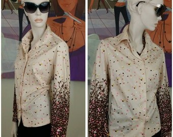 Vintage 70s blouse top handmade polyester