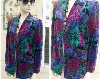 vintage 90s colorful blazer jacket lined by TanJay size 12 soft cotton