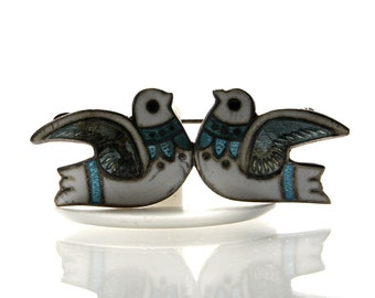 Vintage Mexican Sterling Silver Enamel Dove Brooch Margot De Taxco