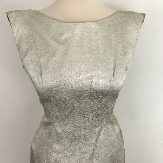 Maxi dress metallic silver long 1950s dress 1960s dress open back straight UK 8 10 60s cocktail gown vintage Wedding bridesmaid lamè
