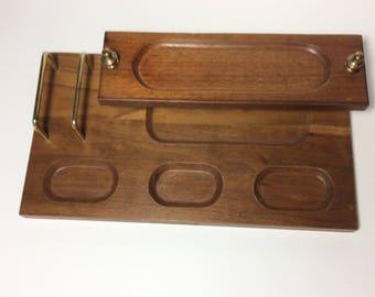 Vintage Mens Valet, wood valet, mens dresser valet, mens dressing table pocket change jewelry holder