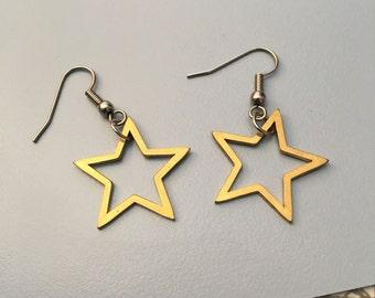 Brass Star Earrings