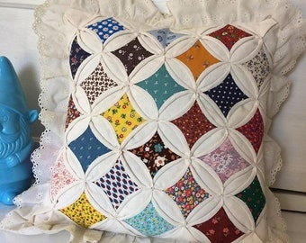 Vintage Cathedral Quilted Pillow Cover