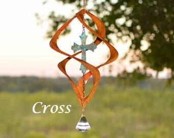 BreezeWay Cross Wind Spinner | Garden Wind Art w/ Copper Patinas & Cyrstal Suncatcher | 2 Sizes | Pure Copper | Handcrafted in Texas