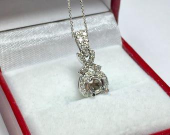 Gold diamond pendant etsy elegant semi mounted pendant l 14kt white gold diamond pendant l pendant setting l design mozeypictures Choice Image