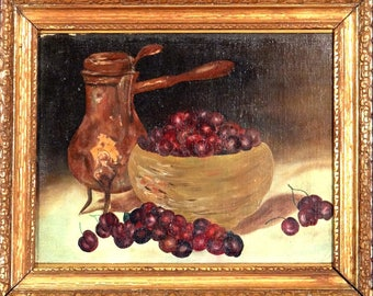Exquisite ca.1940 Antique Tea Pot Bowl & Cherries Oil Painting on Canvas w/Frame