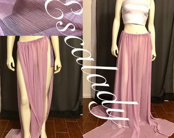"Lilac Beyond floorlength double for slit flow sheer skirt. ""One size fits most"""