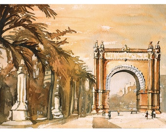 Watercolor painting of the Arc de Triomf in Barcelona, Spain.  Fine art watercolor painting Barcelona Spain.  Original watercolor.  Fine art