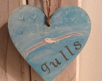 Gull hand painted art heart. Birds/coast/sky/seaside/decoration. P&P Included.