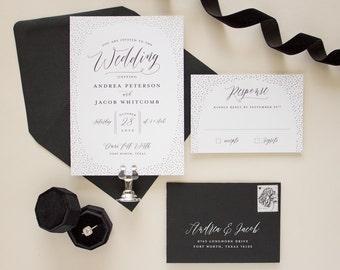 Modern Wedding Invitations in Black and Silver Foil Stamping, Foil stamped wedding invitation, Glitter Border Invitation SAMPLE | Shimmer
