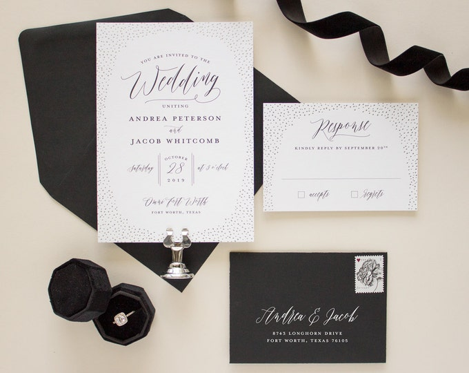 Modern Wedding Invitations in Black and Silver Foil Stamping, Foil stamped wedding invitation, Glitter Border Invitation SAMPLE | Shimmer