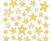 Bella Blvd - Yellow Puffy Star Stickers - 50 pieces - PFST1675