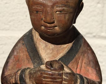 Antique carved wooden Buddha Monk figure on lotus base - 9.5 inches