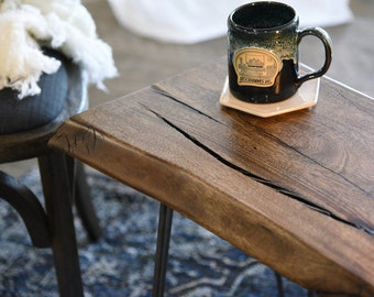 Reclaimed Live Edge Rustic End Table