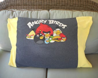 Angry Birds Upcycled/recycled T-shirt Standard size Pillowcase bedding