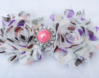 shabby chic hair clip, girl hair clip, polka dot shabby chic hair accessory, flower hair bow, shabby chic headbands, baby girl headaband