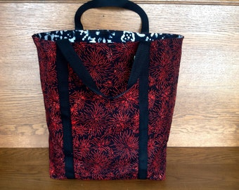 Red Black White Batik  Reversible Tote/Eco Friendly Shopping Bag/Washable Carry-All