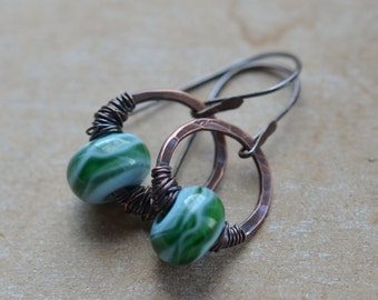 Handmade Green Blue Lampwork Glass and Copper Earrings UK Seller