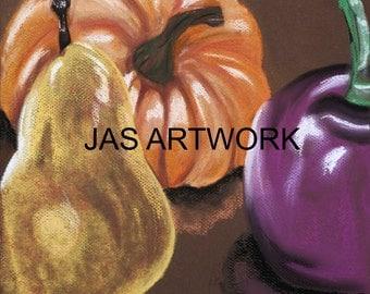 Still life pastel painting print original art artwork fruit vegetables