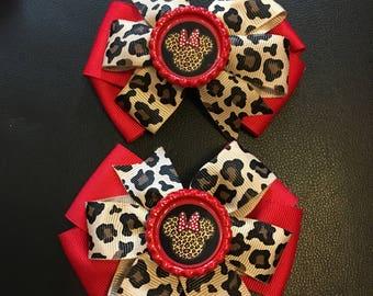 leopard hair Bow with Minnie or hello kitty hair Bow